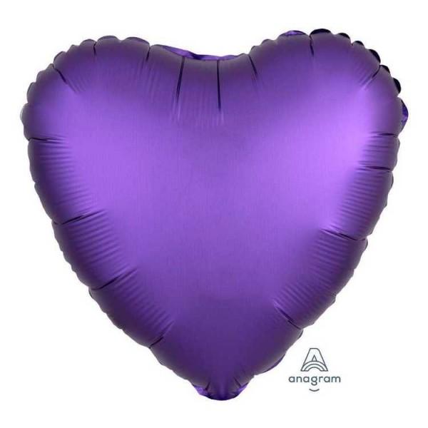 Heart Shape Balloons - Anagram 17 Inch Satin Luxe Purple Royale Heart Shape