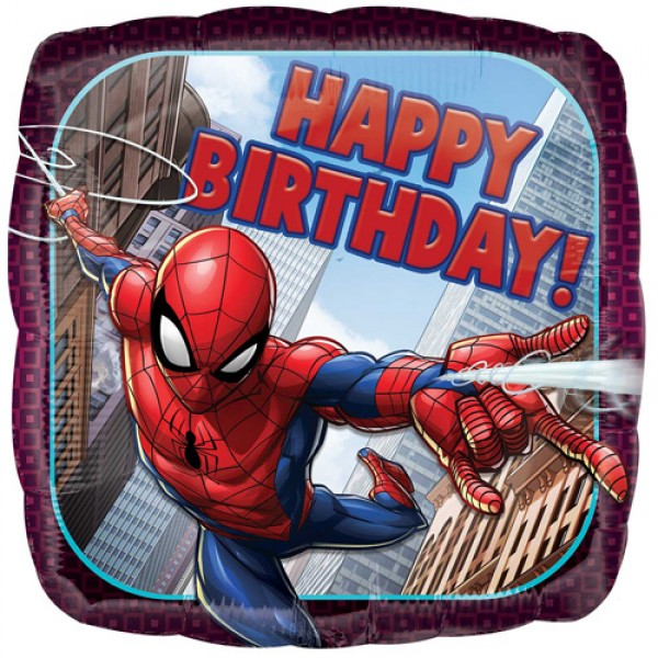 Character Balloons - Anagram 17 inch Spider-Man Birthday Square Foil Balloon