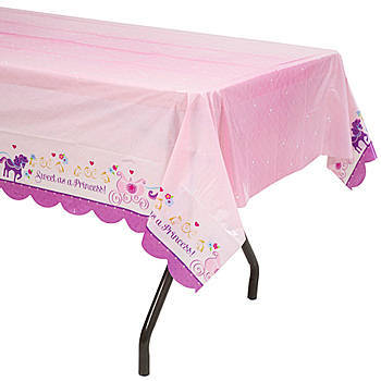 Set A Party Table Fit For A Princess! Our Sofia The First Table Cover Has  Purple Scalloped Edges And Features A Horse Drawn Carriage Motif With  Gilded ...