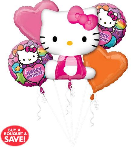 happy birthday rainbow hello kitty balloon bouquet 5pc from