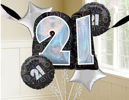 Time To Party 21st Birthday Balloon Bouquet Includes