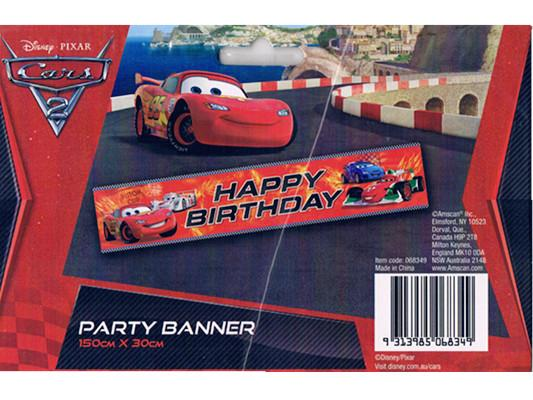 disney cars 2 happy birthday party banner 150cmx30cm from category