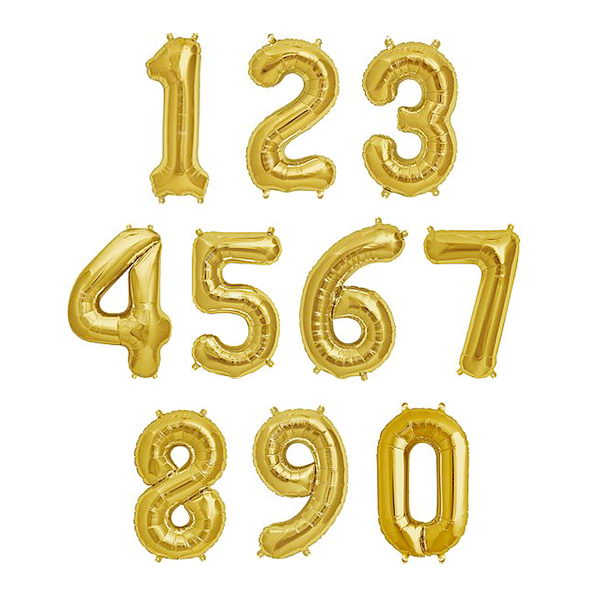 40 Inch Gold Giant Number Foil Balloons 0-9 - from ...