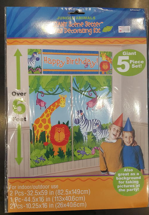 Amscan Jungle Animals Scene Setters Wall Decorating From