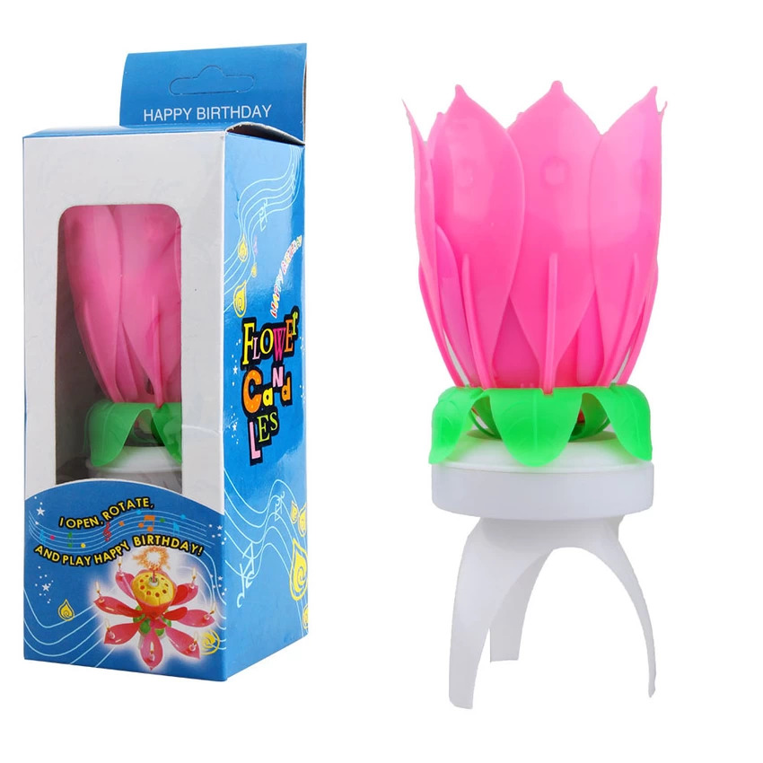Magic Spinning And Singing Louts Flower Birthday Candle Type Musical