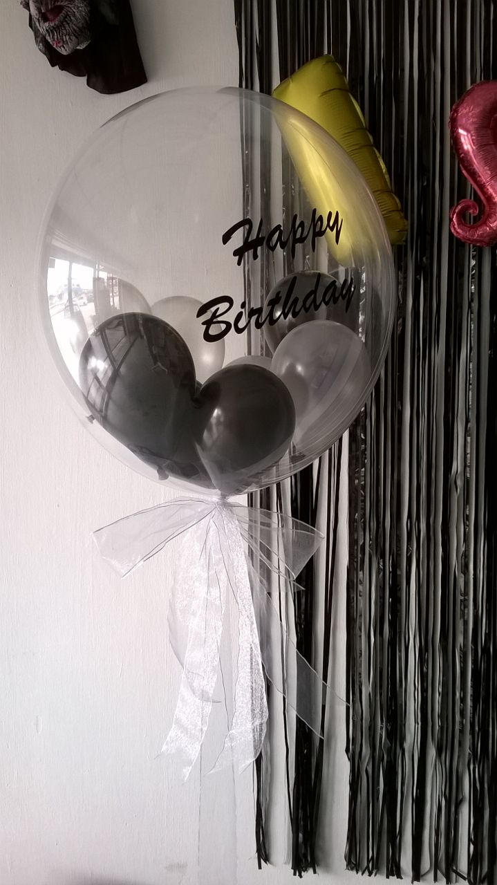 24 Inch Bubble Balloon With Custom Design Sticker