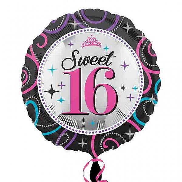 Anagram 17 Inch Sweet 16 Sparkle Foil Balloon