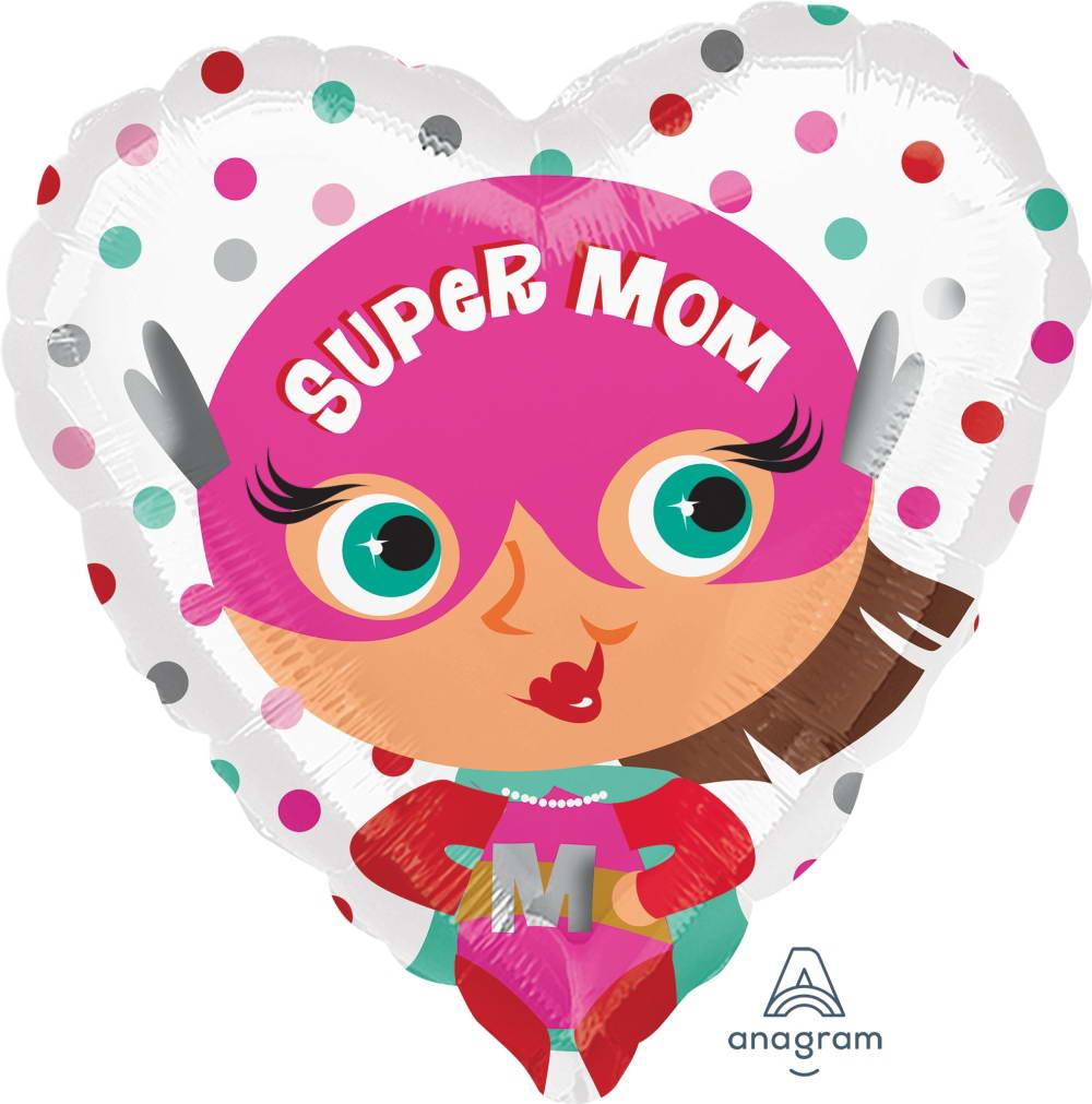 Anagram 17 Inch Cartoon Super Mom Heart Shape Balloon