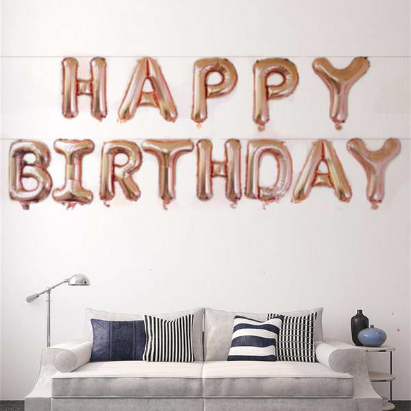 16 Inch Rose Gold Happy Birthday Letters Deco Foil Balloon Set